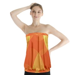 Abstract Orange Yellow Red Color Strapless Top
