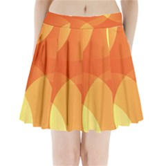 Abstract Orange Yellow Red Color Pleated Mini Skirt