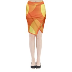 Abstract Orange Yellow Red Color Midi Wrap Pencil Skirt