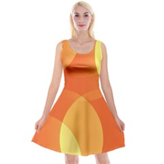 Abstract Orange Yellow Red Color Reversible Velvet Sleeveless Dress