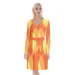 Abstract Orange Yellow Red Color Long Sleeve Velvet Front Wrap Dress