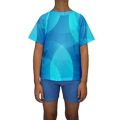 Abstract Blue Wallpaper Wave Kids  Short Sleeve Swimwear