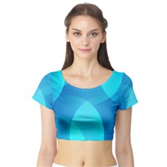 Abstract Blue Wallpaper Wave Short Sleeve Crop Top (tight Fit)