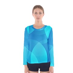 Abstract Blue Wallpaper Wave Women s Long Sleeve Tee