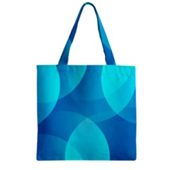 Abstract Blue Wallpaper Wave Zipper Grocery Tote Bag