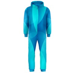 Abstract Blue Wallpaper Wave Hooded Jumpsuit (men)