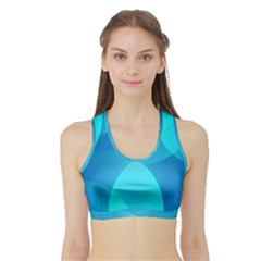 Abstract Blue Wallpaper Wave Sports Bra With Border