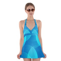 Abstract Blue Wallpaper Wave Halter Swimsuit Dress