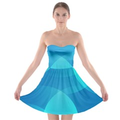Abstract Blue Wallpaper Wave Strapless Bra Top Dress