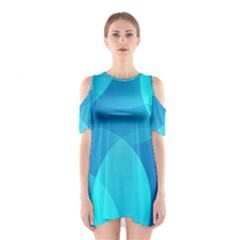 Abstract Blue Wallpaper Wave Shoulder Cutout One Piece