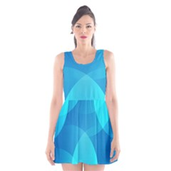 Abstract Blue Wallpaper Wave Scoop Neck Skater Dress