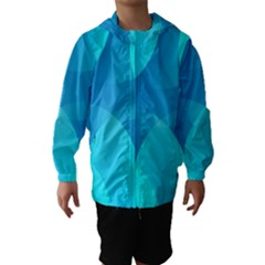 Abstract Blue Wallpaper Wave Hooded Wind Breaker (kids)