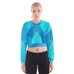 Abstract Blue Wallpaper Wave Cropped Sweatshirt