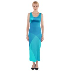 Abstract Blue Wallpaper Wave Fitted Maxi Dress
