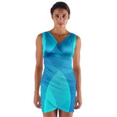 Abstract Blue Wallpaper Wave Wrap Front Bodycon Dress