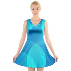Abstract Blue Wallpaper Wave V Neck Sleeveless Skater Dress