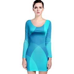Abstract Blue Wallpaper Wave Long Sleeve Velvet Bodycon Dress