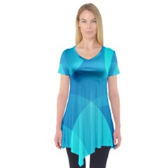 Abstract Blue Wallpaper Wave Short Sleeve Tunic
