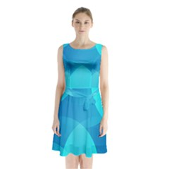 Abstract Blue Wallpaper Wave Sleeveless Waist Tie Chiffon Dress