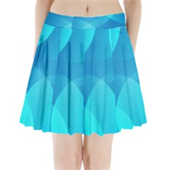 Abstract Blue Wallpaper Wave Pleated Mini Skirt