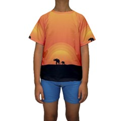 Elephant Baby Elephant Wildlife Kids  Short Sleeve Swimwear