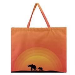 Elephant Baby Elephant Wildlife Zipper Large Tote Bag