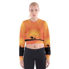 Elephant Baby Elephant Wildlife Cropped Sweatshirt