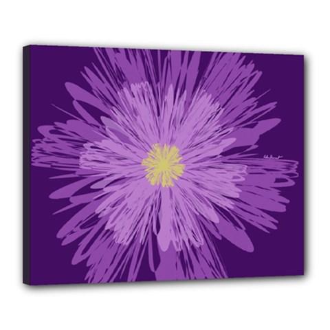 Purple Flower Floral Purple Flowers Canvas 20  x 16
