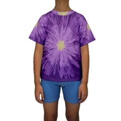 Purple Flower Floral Purple Flowers Kids  Short Sleeve Swimwear