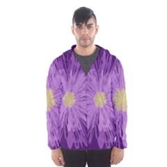 Purple Flower Floral Purple Flowers Hooded Wind Breaker (men)