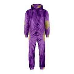 Purple Flower Floral Purple Flowers Hooded Jumpsuit (kids)