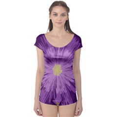 Purple Flower Floral Purple Flowers Boyleg Leotard