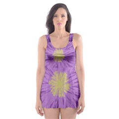 Purple Flower Floral Purple Flowers Skater Dress Swimsuit