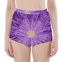 Purple Flower Floral Purple Flowers High Waisted Bikini Bottoms