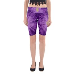 Purple Flower Floral Purple Flowers Yoga Cropped Leggings