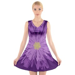 Purple Flower Floral Purple Flowers V Neck Sleeveless Skater Dress