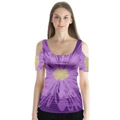 Purple Flower Floral Purple Flowers Butterfly Sleeve Cutout Tee