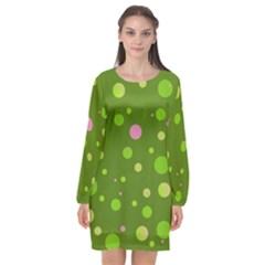 Decorative Dots Pattern Long Sleeve Chiffon Shift Dress