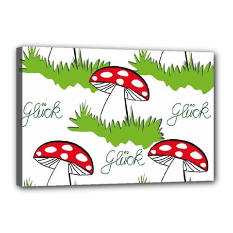 Mushroom Luck Fly Agaric Lucky Guy Canvas 18  X 12