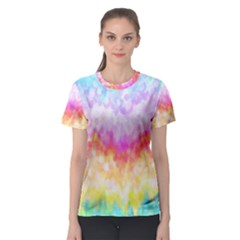 Rainbow Pontilism Background Women s Sport Mesh Tee