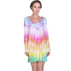 Rainbow Pontilism Background Long Sleeve Nightdress