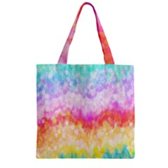 Rainbow Pontilism Background Zipper Grocery Tote Bag