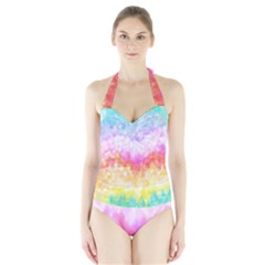Rainbow Pontilism Background Halter Swimsuit
