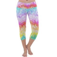 Rainbow Pontilism Background Capri Yoga Leggings
