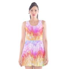 Rainbow Pontilism Background Scoop Neck Skater Dress
