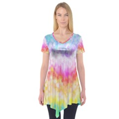 Rainbow Pontilism Background Short Sleeve Tunic