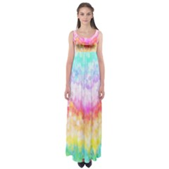 Rainbow Pontilism Background Empire Waist Maxi Dress