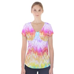 Rainbow Pontilism Background Short Sleeve Front Detail Top