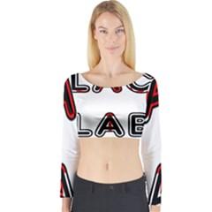 Black Lab Canadian Flag In Name Long Sleeve Crop Top