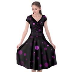 Decorative Dots Pattern Cap Sleeve Wrap Front Dress